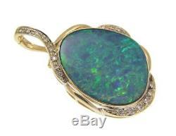 Pendentif À Diamants Avec Opale Véritables Australiens En Or Jaune 14 Carats Massif 25.30mm