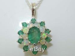 Pendentif Avec Opale Naturelle Et Émeraude En Argent Sterling 925 Et Chaîne 1618 Ou 20