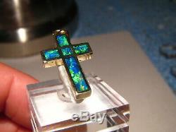 Pendentif Croix D'opale Australienne En Or Massif 14 Kt