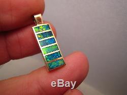 Pendentif D'opale Australienne Naturelle De Qualité Gemme En Or Jaune 14 Carats Massif