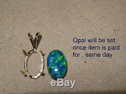 Pendentif D'opale De Gemme Noire Australienne De 3,71 Ct En Or Jaune 14 Kt