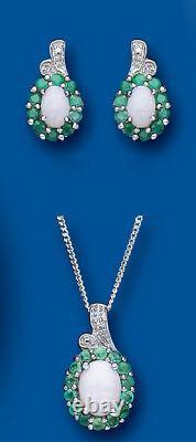 Pendentif Émeraude Et Opale Et Boucles D'oreilles Ensemble Avec Diamant Solide Sterling Argent