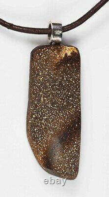 Pendentif En Argent Massif Opal De Boulder Bleu Vert Australien 31ct Hallmark