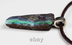 Pendentif En Argent Massif Opal De Boulder Vert Vert Australien Queensland 9 Ct Hallmark