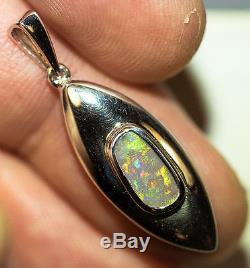 Pendentif En Argent Sterling 925 Semi-noir Et Opale Australienne Avec Solide Naturel