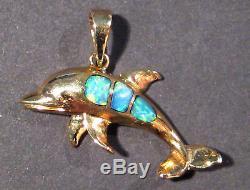 Pendentif En Forme De Dauphin En Opale Australienne Et En Or Massif De 14 Carats (aow 592a)