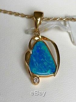 Pendentif En Opale De Feu Bleu Sarcelle Australien Bleu Foncé En Or 14k Serti De Diamant
