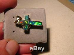 Pendentif Gem Croix Opale Australienne Solide En Or Jaune 14 K