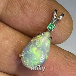 Pendentif Opal Massif Australien Argent Sterling Poire Émeraude 3,38cts Gem Léger X29