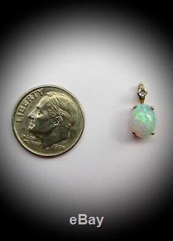 Pendentif Opal Precious Gold En Or Jaune Massif De 14 Carats Et Diamant, Nouveau