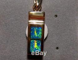 Pendentif Opale Australienne Naturelle En Or Jaune 18 Carats Massif