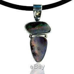 Pendentif Opale Boulder Massif Bleu, Vert, Violet Et Rouge En 100% Argent Sterling