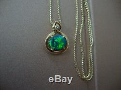 Pendentif Pierre Avec Opale Noire Noire Australienne En Or Massif 18k 750