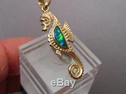 Pendentif Seahorse Australian Gem Opal Solide Or Jaune 14 K