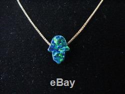 Petit Vert Foncé Opale Hamsa Collier Avec Pendentif Main Sur Massif 14k Chaîne En Or Jaune