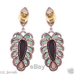 Pierre Précieuse Émeraude Boucle D'oreille En Plein 14 K Or Rose Pavé De Diamants Opal Sapphire