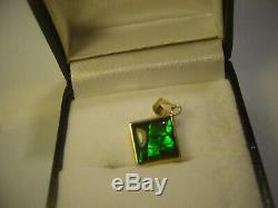 Rare Incroyablement Solide 14 Ct Solid Gold Pendent-noir Et Vert Opale! Ridge Retour
