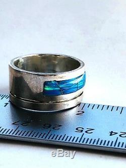Rare Sz 7. Bague Opale Unisexe 1/4 Heavy Solid Bleu Vert Noir Wide Band Coupe De Tuyau