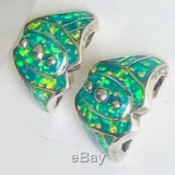 Rare Vinatge Solide Opal Super Art Vert Brillant Brésilien Deco Boucles D'oreilles Signé