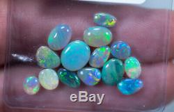Rares Opales Noires, Sombres Et Claires Beaucoup 14 Pièces, Lightning Ridge Pa02 Solide De 11,97 Ct