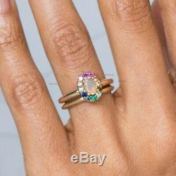 Réelle Éthiopienne Opale Bague À Pierre Précieuse Multi Saphir 14k Massif Bijoux En Or Jaune