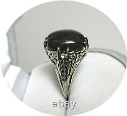 Solid Black Australian Opal Ring Reds-green Lights Vintage 14k W. Gold Mtg