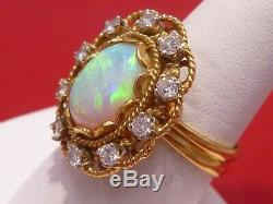 Solid Gold Ballerina Green Opal Anneau 0.60 Ct Diamant Handcrafted Domaine