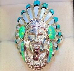 Solid Indian Chief Biker Coiffure D'opale Brésilienne Masculine Heavy 450 $ Ring 11,5 W