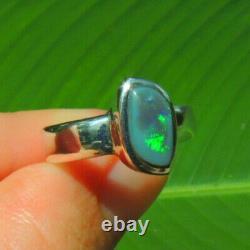 Solid Natural Black Opal Lightning Ridge Australie Sterling Silver Ring Sz 8.5
