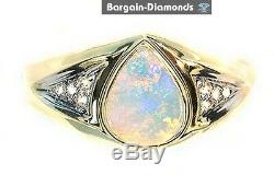 Solid Opal Diamonds 1.07 Bague En Or 14 Carats Rose Vert Bleu Rouge Australien Fiançailles