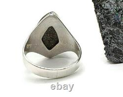 Solid Opal Ring, Sz 8.75, Boulder Opal, Sterling Silver, Octobre Gem