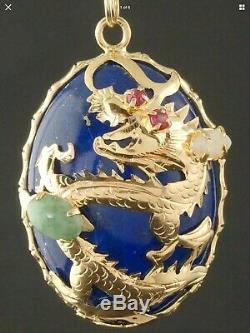 Solide 14k Or Jaune, Lapis, Ruby, Opal, & Green Dragon De Jade, Pendentif Domaine Nr