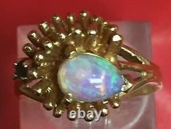 Solide 14k Or Jaune / Opal Pear Shaped & Green Emerald Ring. Sz 6