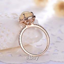 Solide 14k Rose Or Sur 1.3ct Cut Ovale Opale Halo Diamant Femmes Bague De Fiançailles