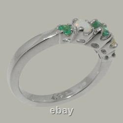 Solide 925 Sterling Silver Natural Emerald & Opal Womens Bande Ring -tailles 4 À 12