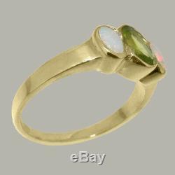 Solide 9k Femmes En Or Jaune Naturel Péridot Et Opal Trilogy Ring Sizes 4 À 12