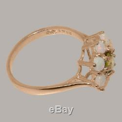 Solide 9k Or Rose Natural Peridot & Opal Femmes Cluster Ring Sizes 4 À 12