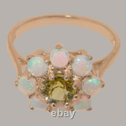 Solide 9k Rose Gold Natural Peridot & Opal Womens Cluster Ring Sizes J À Z