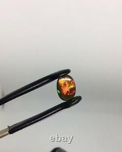 Solide Noir Opal Couleur Vive Jouer Et Dominante Rouge Orange Vert 1.90 Carat