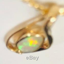 Solide Opale Australienne 3tc Or 14k Diamant Mesdames Pendentif Treble Cleff Musical