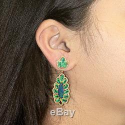 Solide Or 18 Carats Opale Pierres Précieuses Émeraude Main Boucle D'oreille En Diamant Fine Pave