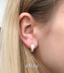 Solide Or Jaune 14k Diamond Cut Multi-couleur Opale De Feu Huggie Boucles D'oreilles Hoop