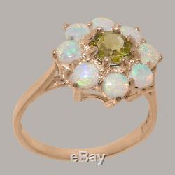 Solide Or Rose 10k Naturel Peridot Et Opal Femmes Cluster Ring Sizes 4 À 12