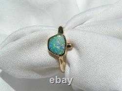 Solide Véritable Opal Australien Et Bague En Or 18ct