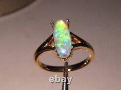 Solitaire Australien Gem Cristal Opal Anneau 18 K Or Jaune