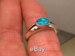Solitaire Australien Opale Solide. Bague En Argent Sterling 925, Taille 7 Ou N1 / 2