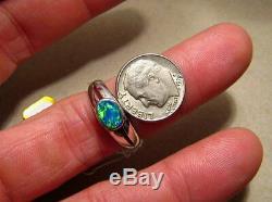 Solitaire Australien Opale Solide. Bague En Argent Sterling 925 Taille 9 Ou R 1/2
