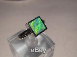 Solitaire Jaune Vert Australian Opal Bague Sterling Resize Gratuitement Argent