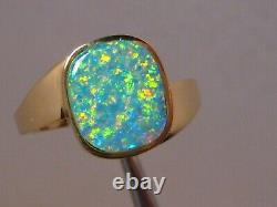 Solitaire Natural Australian Opal Ring 18 K Or Jaune