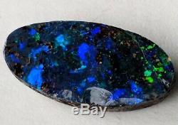 Sparkly! 6ct Solid Black Boulder Opal Bleu Vert Ovale Qld